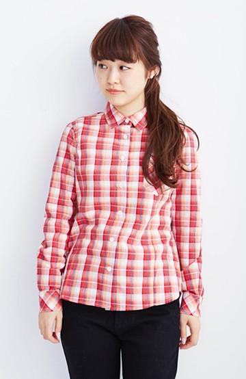 nusy きれいシルエットのチェックシャツ <レッド>の商品写真