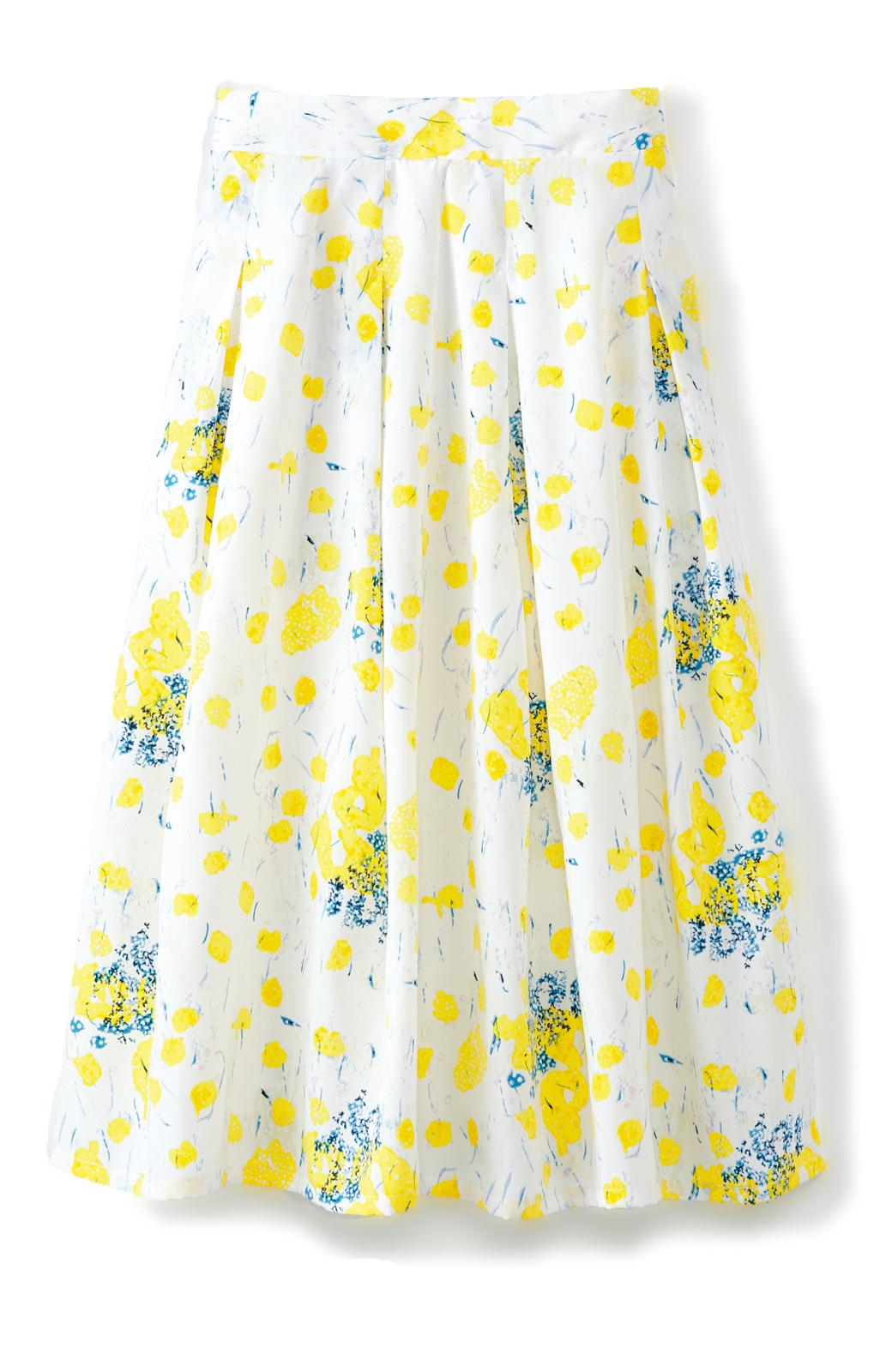 haco! ユニカラート SEII SATOSHI 水彩のお花畑 ウエストゴムのフレアスカート <イエロー>の商品写真1