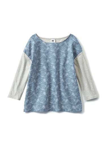 haco! ユニカラート OHTA KOSUKE 鳥と葉っぱ 刺しゅう布&カットソーのコンビトップス <ブルー>の商品写真
