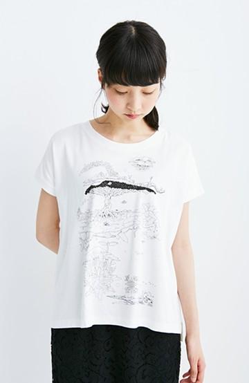 haco! rooms ETHICAL×haco. feat.sense&KAZ THE BLUE LOVE PBP ドローイングTシャツ <ホワイト>の商品写真