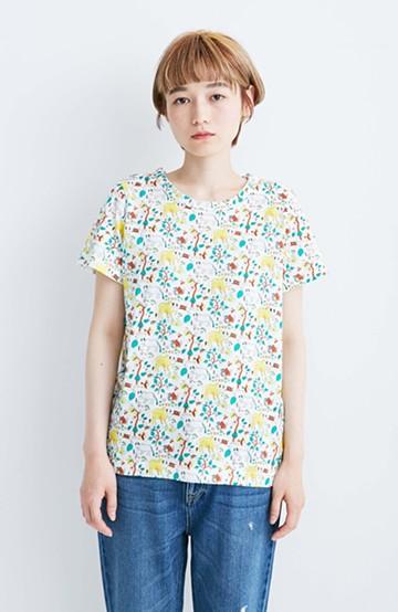 haco! CNLforPBP インドのこどもが描いた総柄Tシャツ〈レディース〉 <ウシ柄>の商品写真