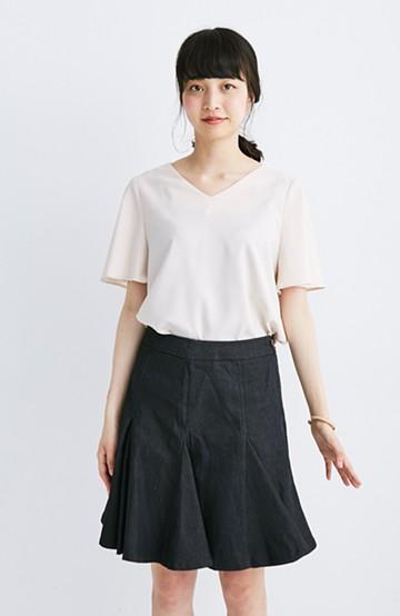 エムトロワ すそがオリガミみたいなペプラムスカート <ブラック>の商品写真