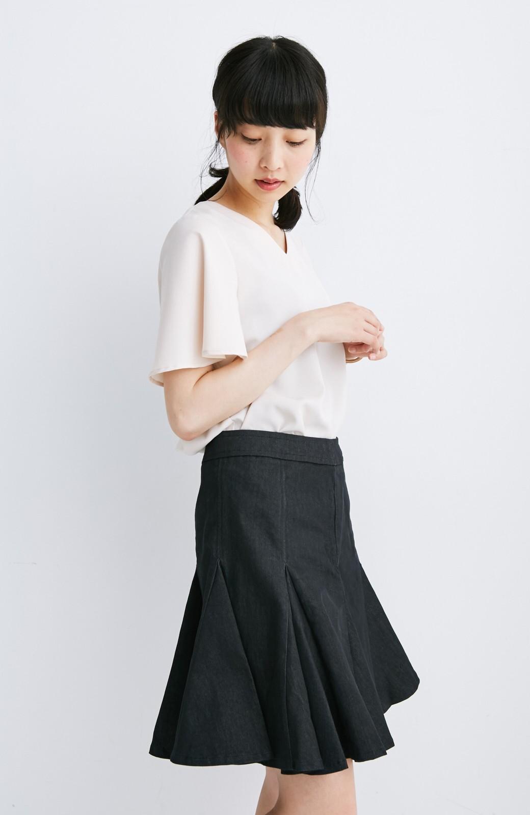 エムトロワ すそがオリガミみたいなペプラムスカート <ブラック>の商品写真5