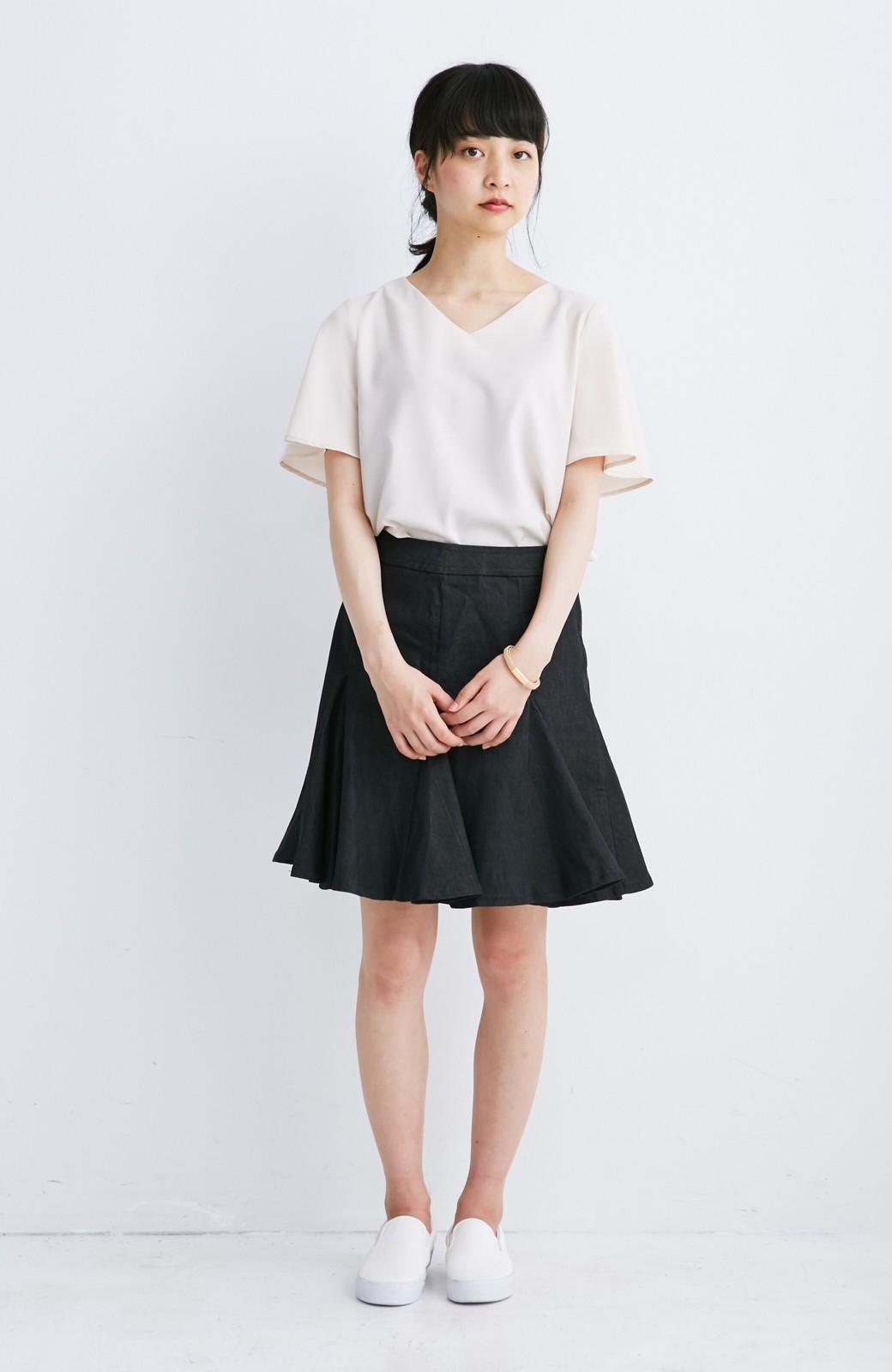 エムトロワ すそがオリガミみたいなペプラムスカート <ブラック>の商品写真3