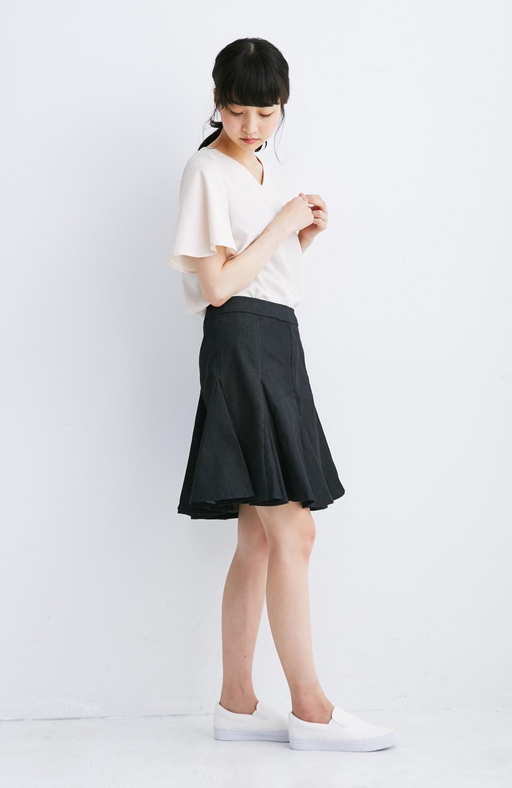 エムトロワ すそがオリガミみたいなペプラムスカート <ブラック>の商品写真4