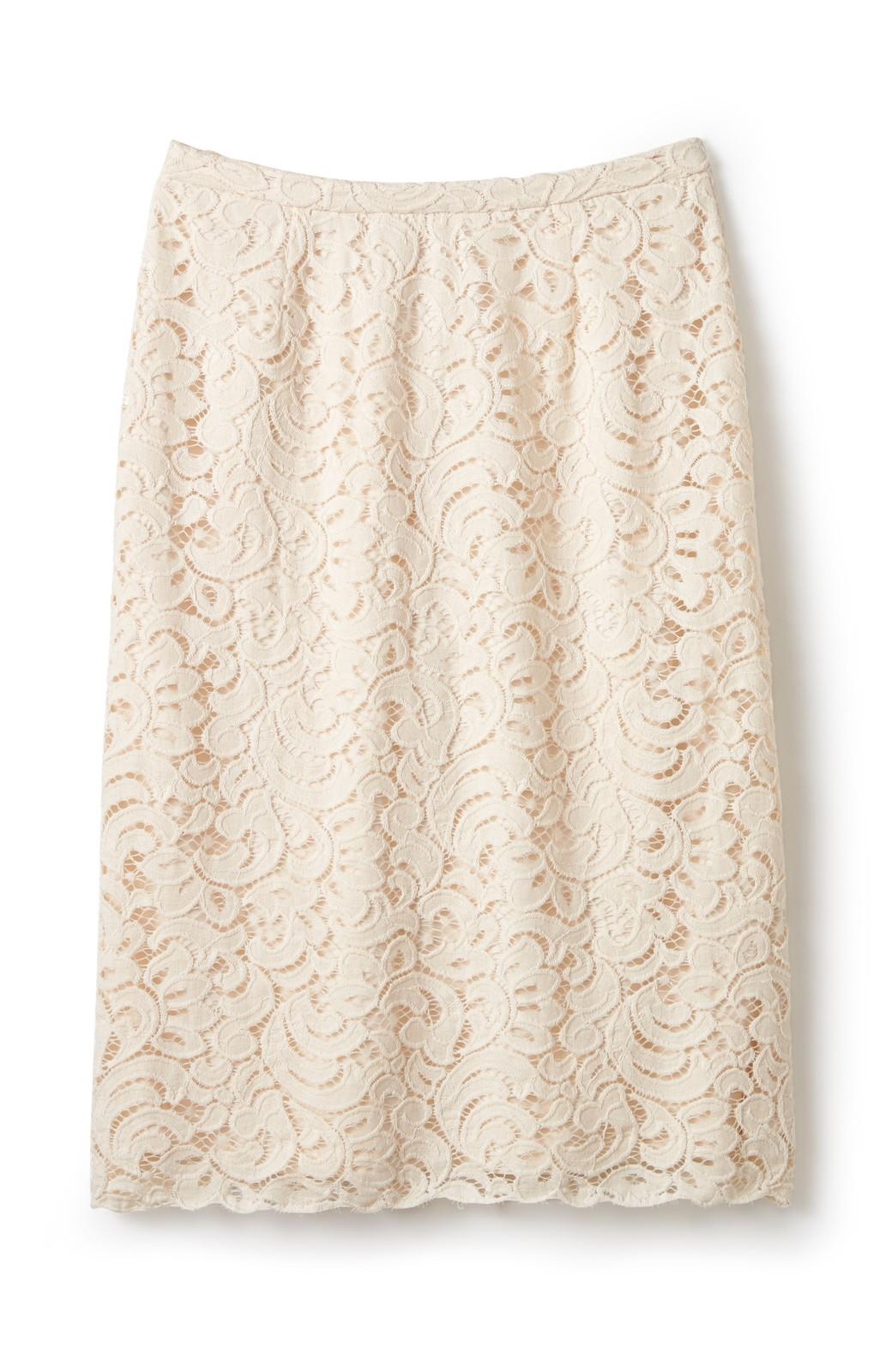 エムトロワ オトナレースのタイトスカート <アイボリー>の商品写真1