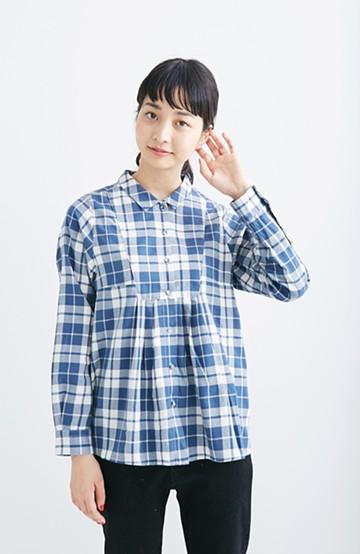nusy ひらりシルエットが自慢のチェックシャツ <ブルー>の商品写真
