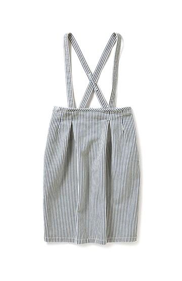 nusy ヒッコリー素材のサスペンダー付きハイウエストスカート <ブルー>の商品写真