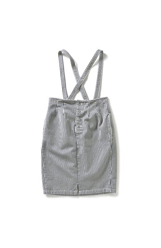 nusy ヒッコリー素材のサスペンダー付きハイウエストスカート <インディゴブルー>の商品写真2