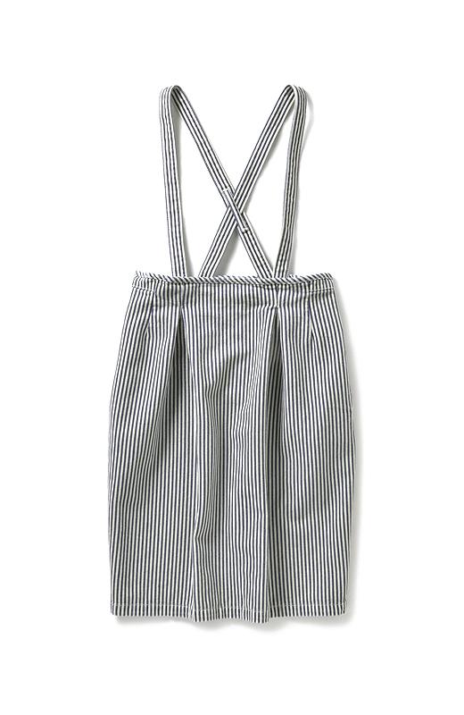 nusy ヒッコリー素材のサスペンダー付きハイウエストスカート <インディゴブルー>の商品写真1