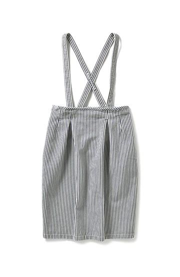 nusy ヒッコリー素材のサスペンダー付きハイウエストスカート <インディゴブルー>の商品写真