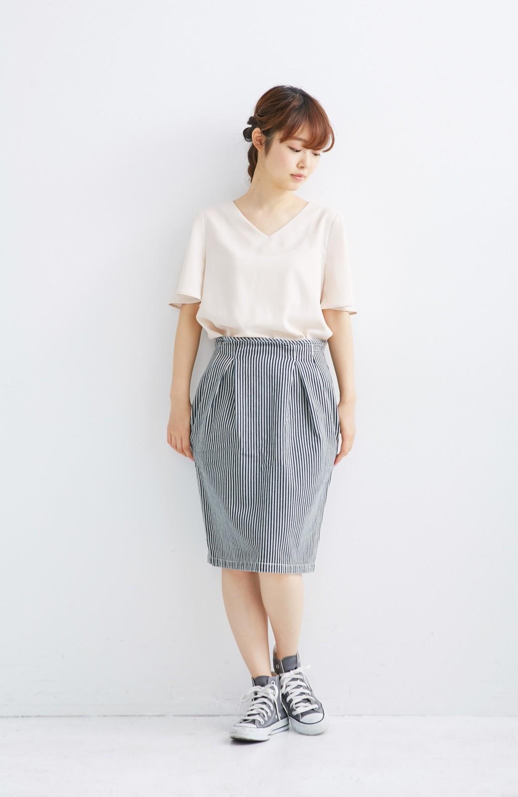 nusy ヒッコリー素材のサスペンダー付きハイウエストスカート <インディゴブルー>の商品写真4
