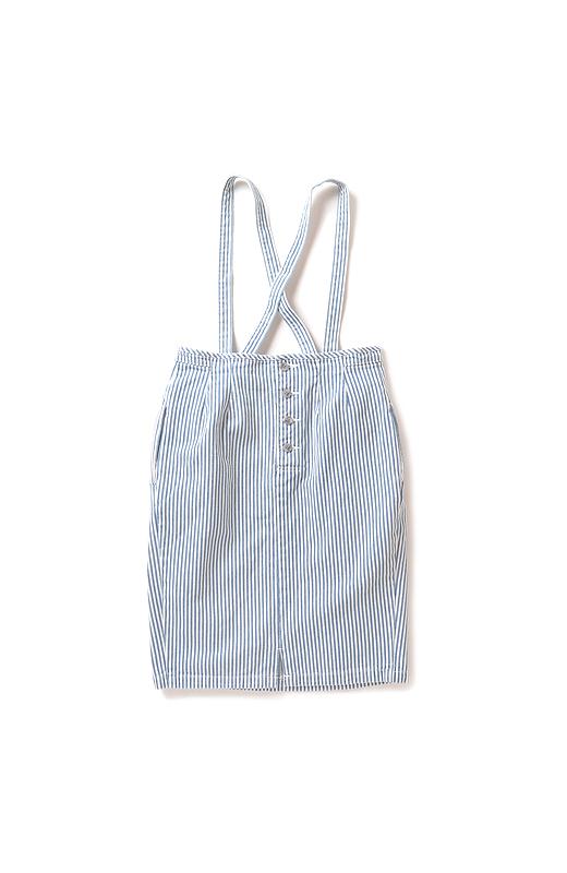 nusy ヒッコリー素材のサスペンダー付きハイウエストスカート <ブルー系その他>の商品写真2
