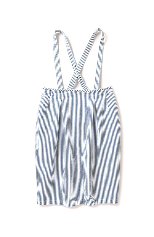nusy ヒッコリー素材のサスペンダー付きハイウエストスカート <ブルー系その他>の商品写真1