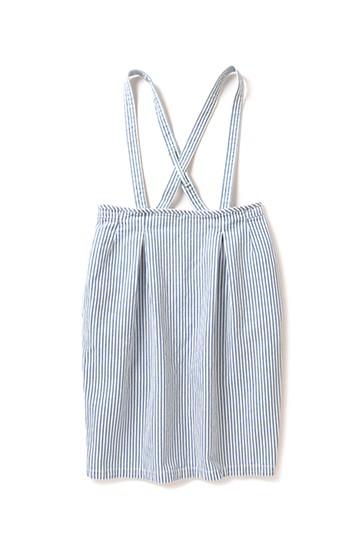 nusy ヒッコリー素材のサスペンダー付きハイウエストスカート <ブルー系その他>の商品写真