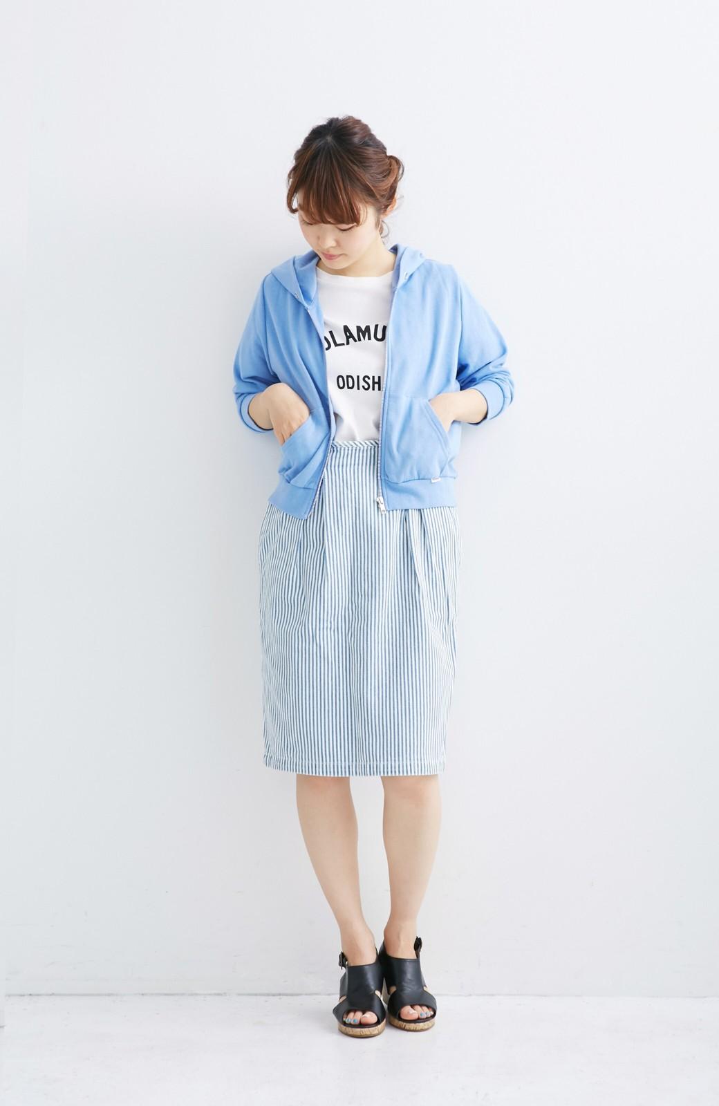 nusy ヒッコリー素材のサスペンダー付きハイウエストスカート <ブルー系その他>の商品写真5