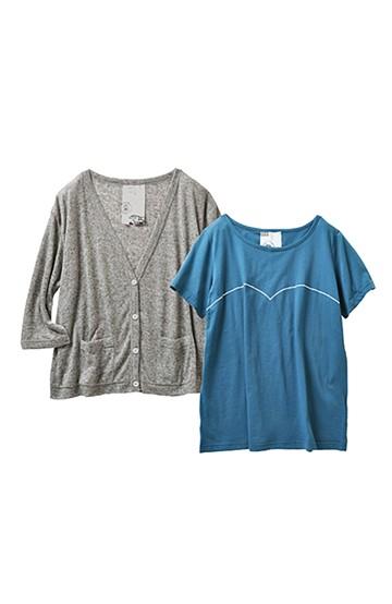 haco! haco.FACTORY カットソーカーディガン&Tシャツセット <グレー>の商品写真