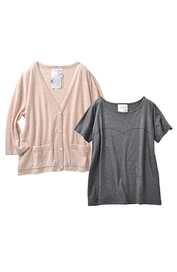 haco! haco.FACTORY カットソーカーディガン&Tシャツセット <ピンク>の商品写真