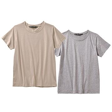 リス クロース 異素材のシンプルTシャツ2枚セット <ベージュ×グレイ>の商品写真