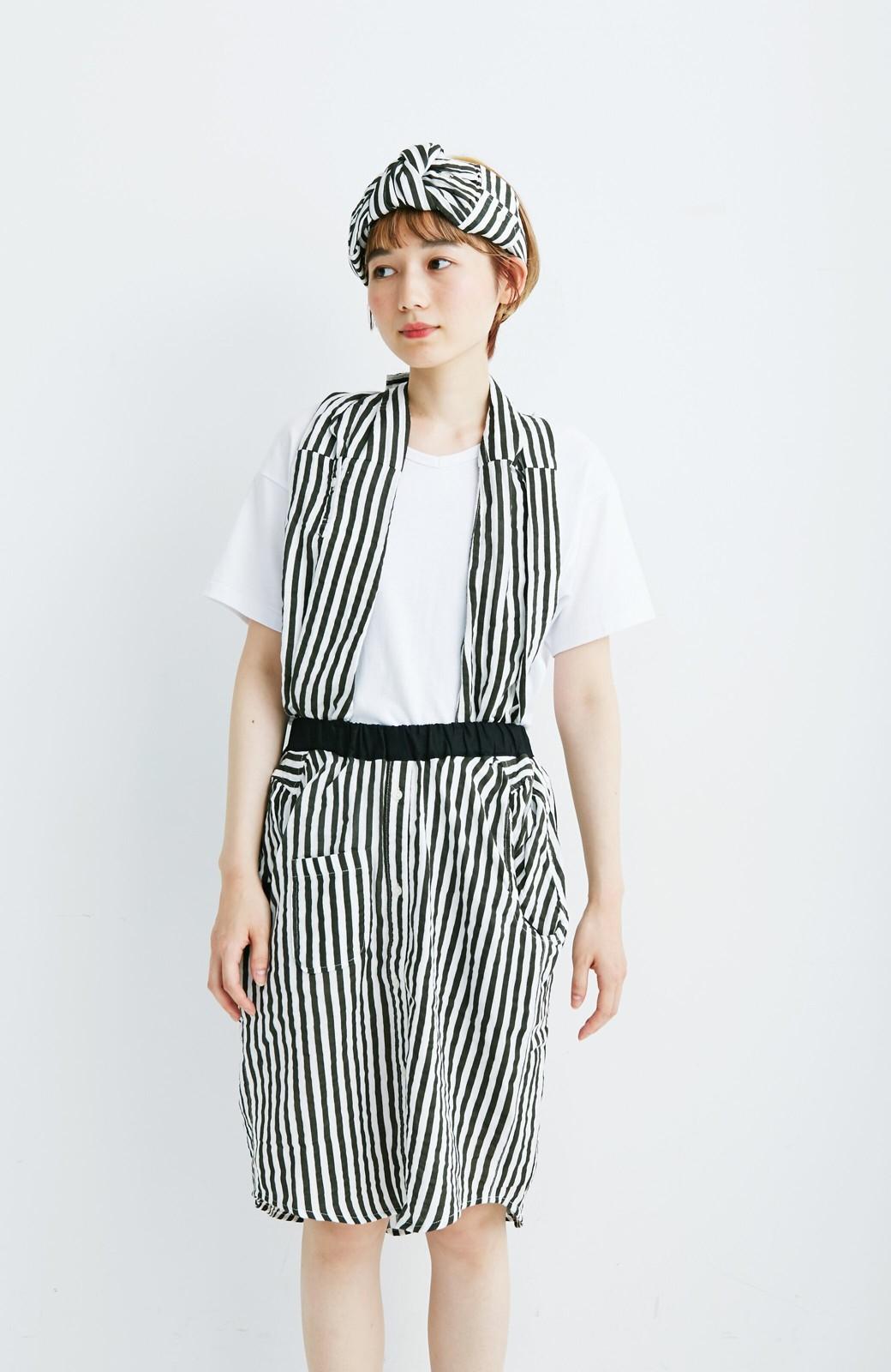 haco! co&tion RERE2枚のシャツでつくったスカートとターバンセット【アーティスト監修10点もの】 <ブラック×ホワイト>の商品写真1