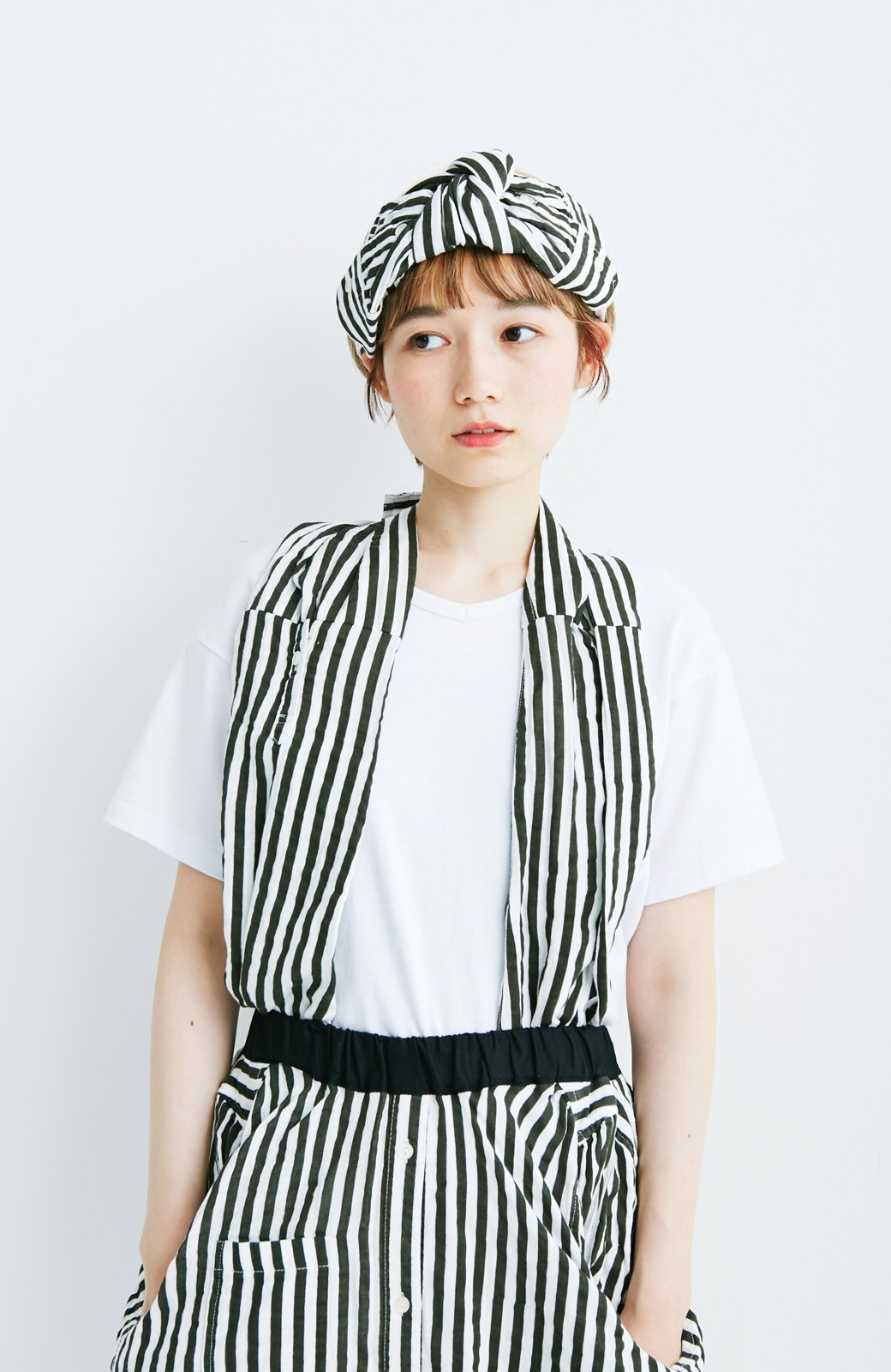 haco! co&tion RERE2枚のシャツでつくったスカートとターバンセット【アーティスト監修10点もの】 <ブラック×ホワイト>の商品写真7
