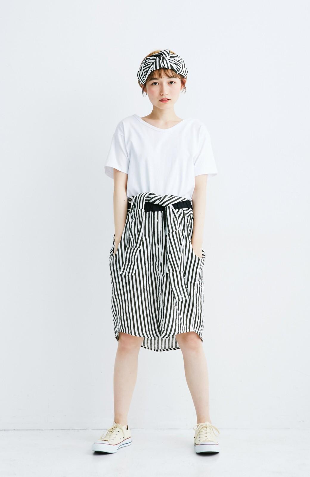 haco! co&tion RERE2枚のシャツでつくったスカートとターバンセット【アーティスト監修10点もの】 <ブラック×ホワイト>の商品写真2