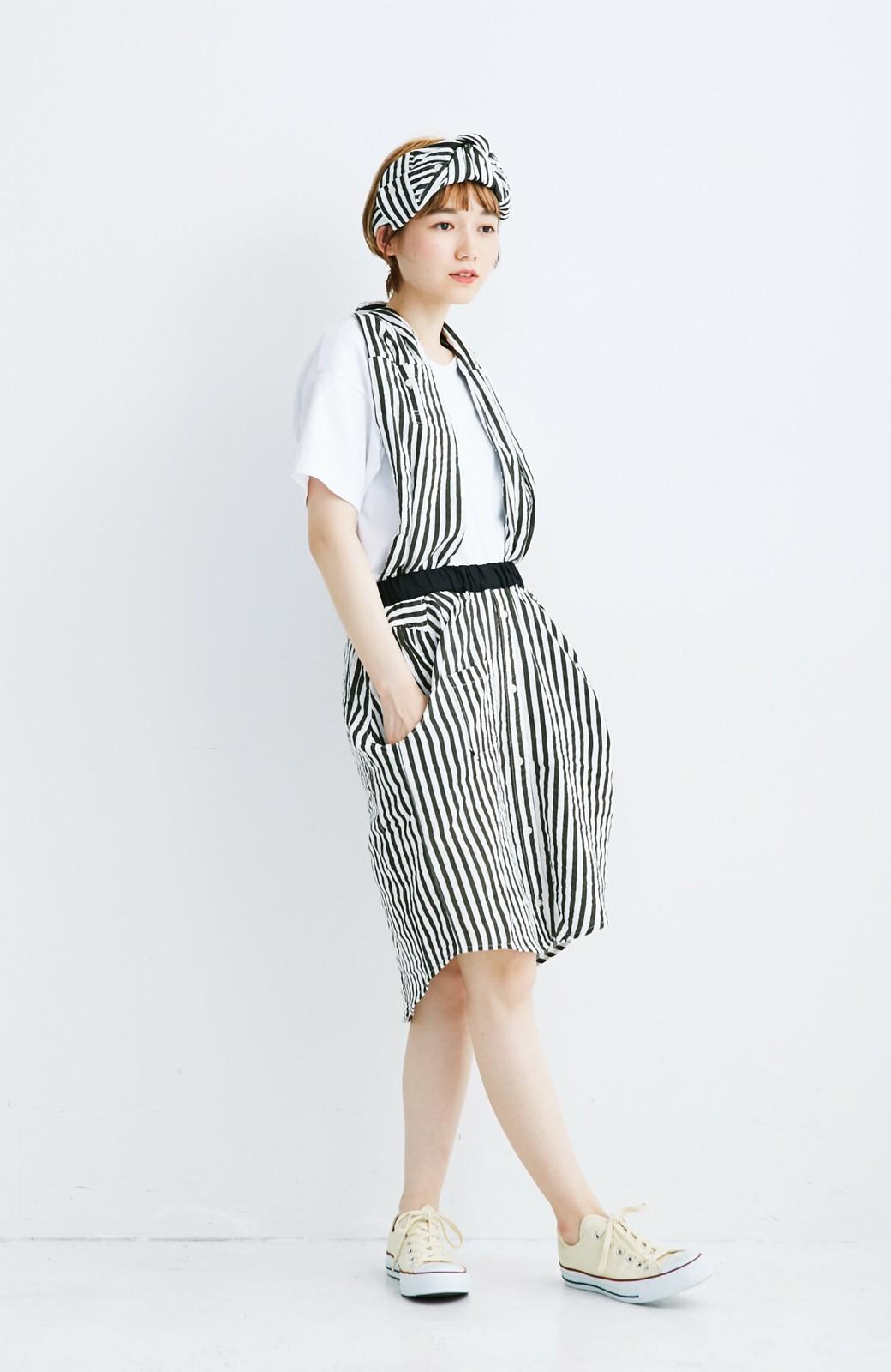 haco! co&tion RERE2枚のシャツでつくったスカートとターバンセット【アーティスト監修10点もの】 <ブラック×ホワイト>の商品写真3