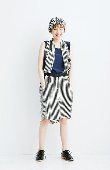 haco! co&tion RERE2枚のシャツでつくったスカートとターバンセット【アーティスト作品1点もの】 <ブラック×ホワイト>の商品写真