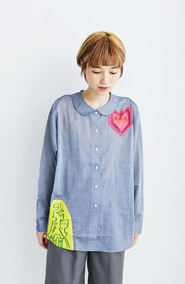 haco! co&tion 遠山敦丸えりシャツ【アーティスト監修10点もの】 <ブルー>の商品写真