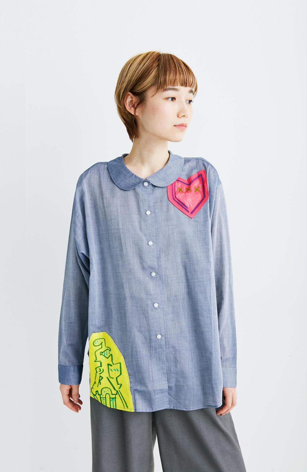 haco! co&tion 遠山敦丸えりシャツ【アーティスト監修10点もの】 <ブルー>の商品写真3