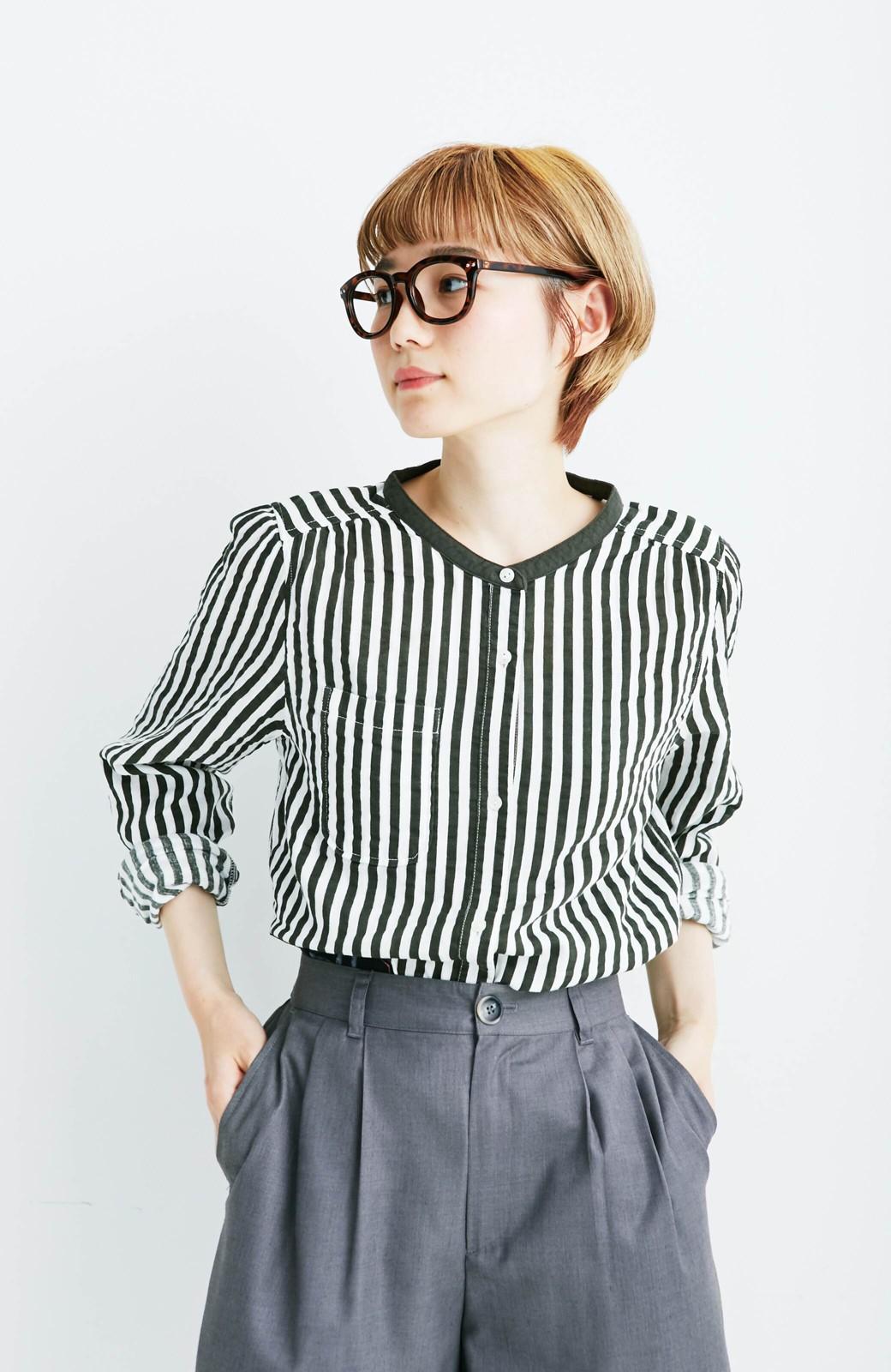 haco! co&tion 遠山敦ストライプシャツ【アーティスト監修10点もの】 <ブラック×ホワイト>の商品写真1