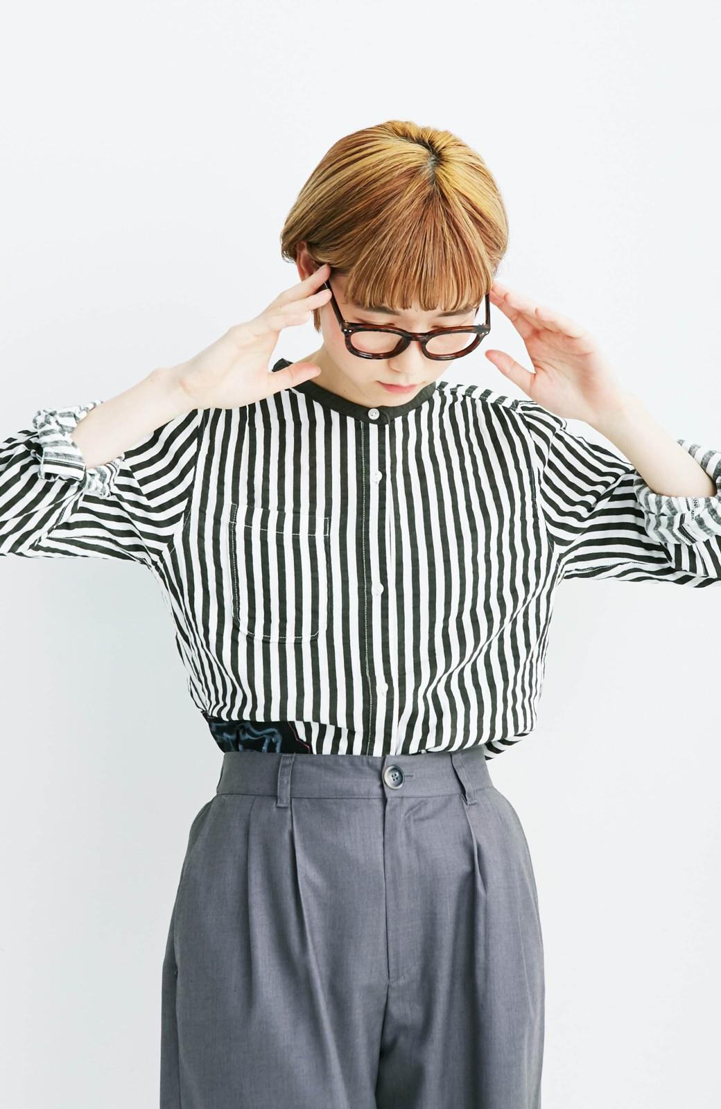 haco! co&tion 遠山敦ストライプシャツ【アーティスト監修10点もの】 <ブラック×ホワイト>の商品写真3