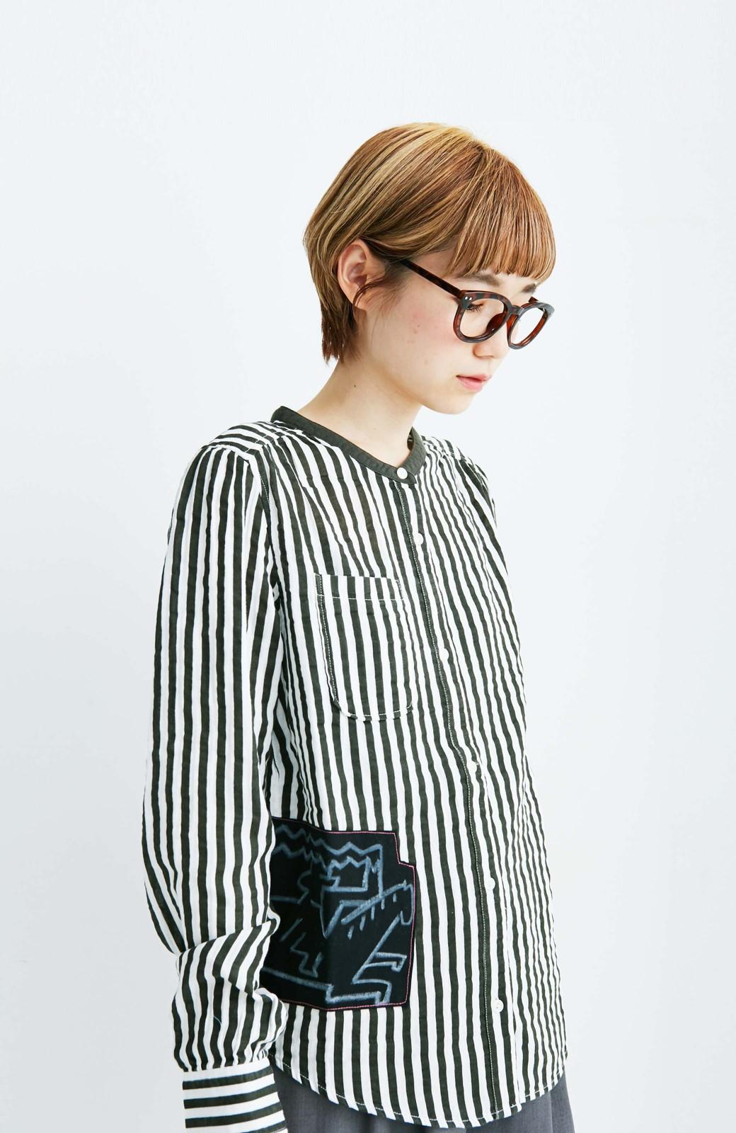 haco! co&tion 遠山敦ストライプシャツ【アーティスト監修10点もの】 <ブラック×ホワイト>の商品写真4