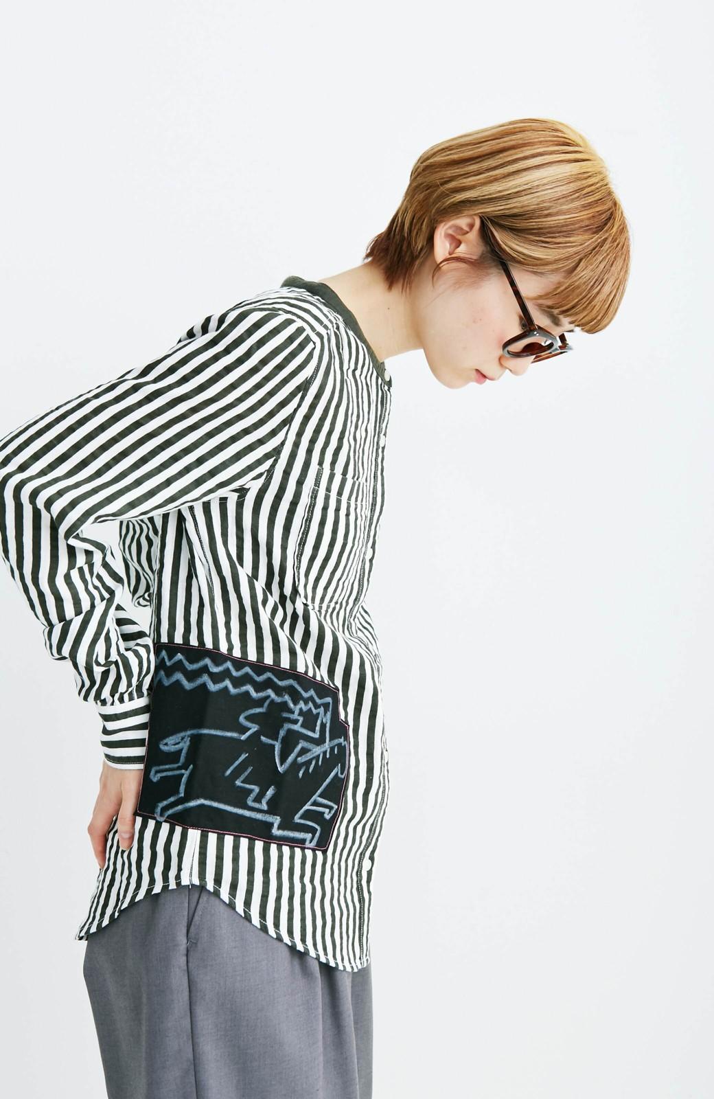 haco! co&tion 遠山敦ストライプシャツ【アーティスト監修10点もの】 <ブラック×ホワイト>の商品写真5