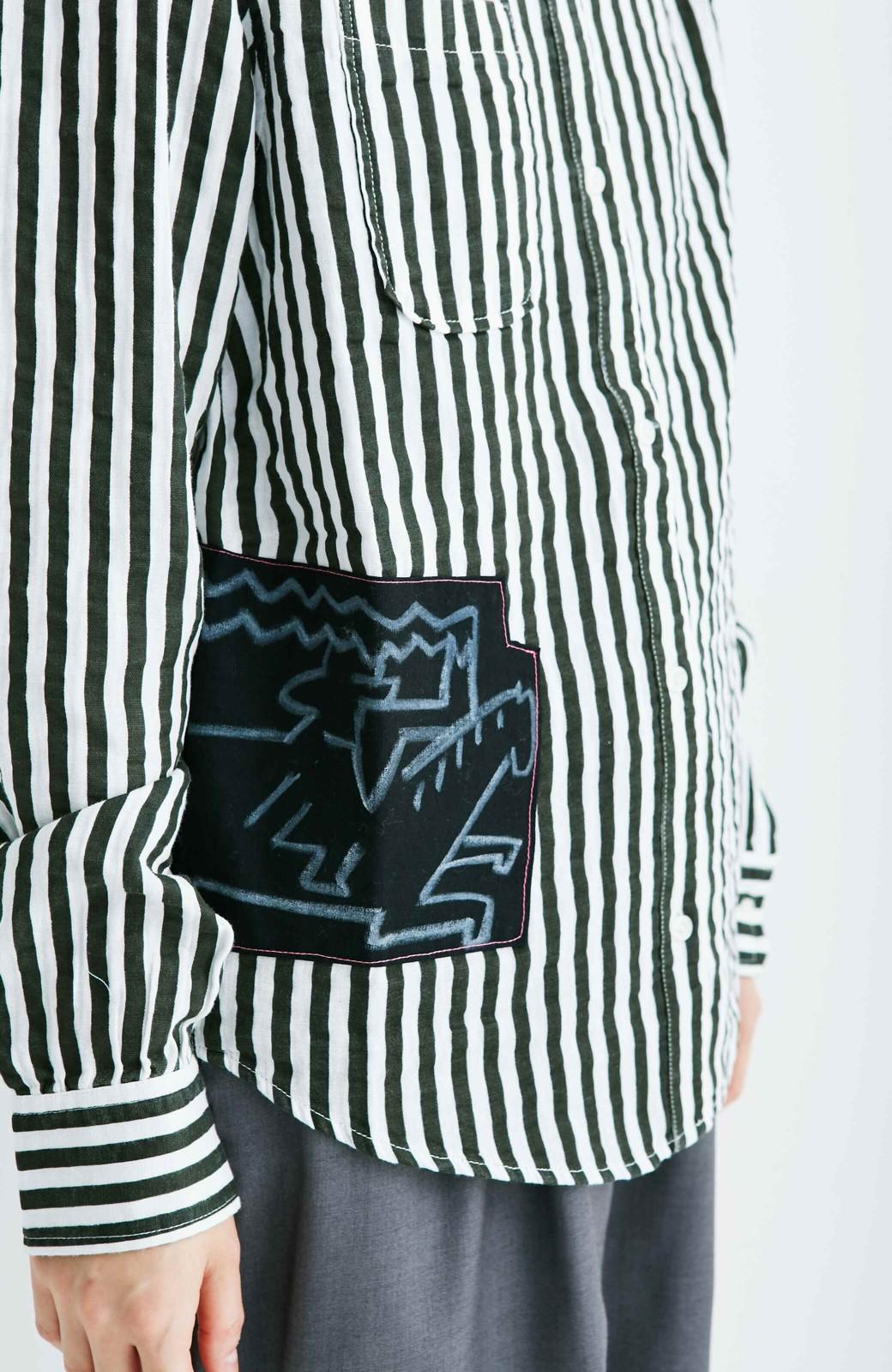 haco! co&tion 遠山敦ストライプシャツ【アーティスト監修10点もの】 <ブラック×ホワイト>の商品写真7
