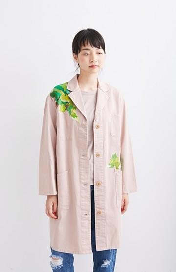 haco! co&tion 神尾茉利グリーン刺しゅうのアトリエコート【アーティスト作品1点もの】 <ピンク>の商品写真