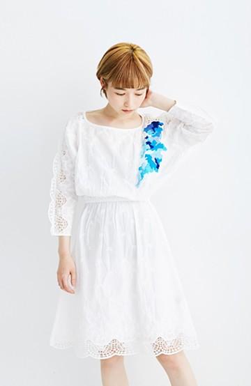 haco! co&tion 神尾茉利ブルー刺繍のホワイトワンピース【アーティスト監修10点もの】<ホワイト>の商品写真