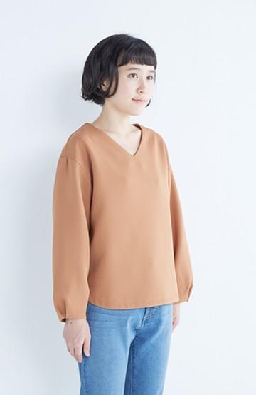 エムトロワ 簡単キレイ、ふんわり袖のTブラウス <ピンクベージュ>の商品写真