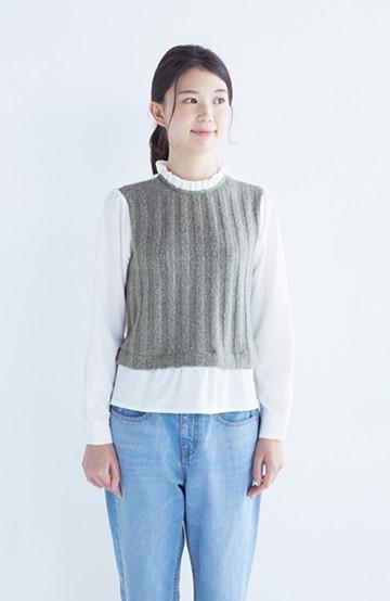 nusy 着るだけで簡単重ね着風、フリル衿のブラウス <杢グレー>の商品写真
