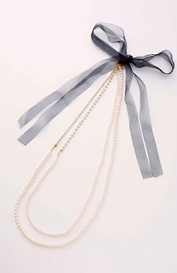 エムトロワ 結婚式にも便利ないろいろ使える華やかネックレス <ホワイト>の商品写真