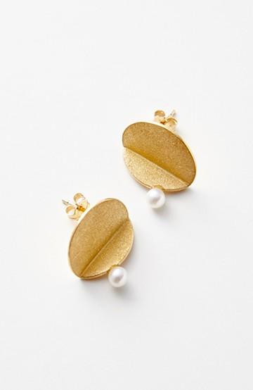 haco! てとひとて momo Fold Pierced Gold セミサークルM ピアス <ゴールド>の商品写真