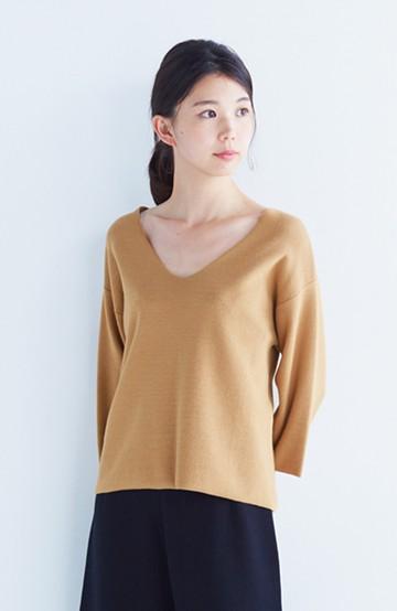 エムトロワ パッと着るだけでいい感じになれる 季節の変わり目にも便利なミラノリブニット <キャメル>の商品写真