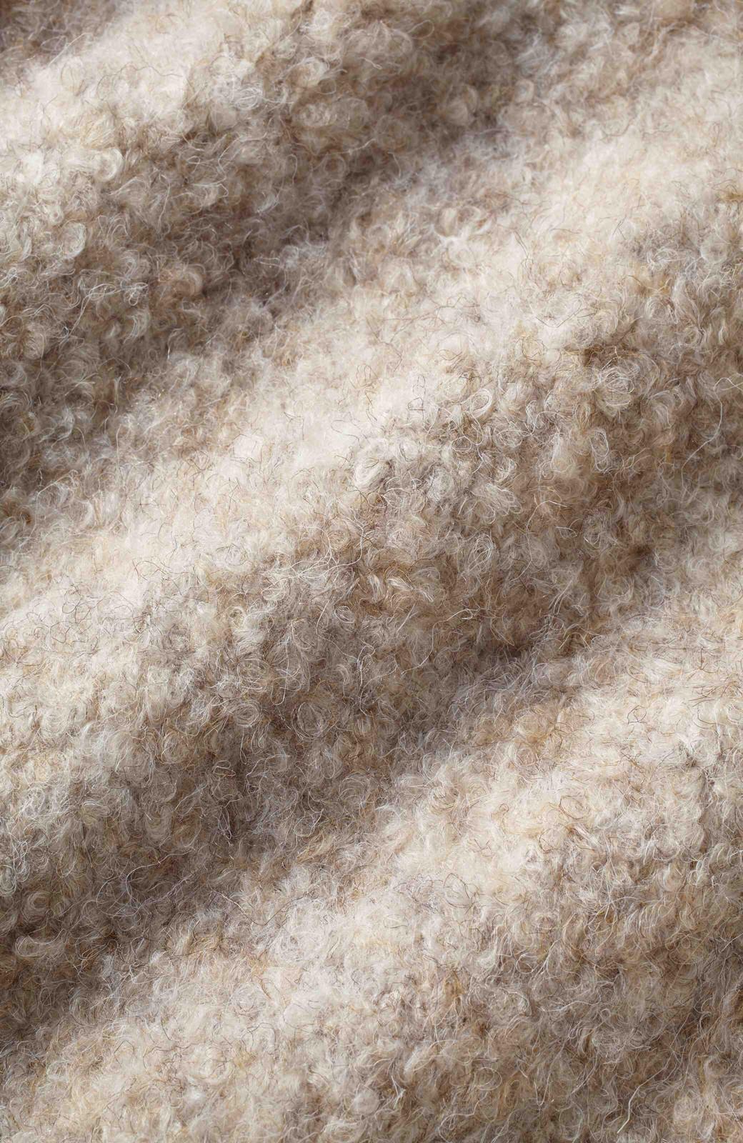 nusy パウンドブークレ素材のぬくぬくロングガウンディガン <ベージュ>の商品写真2