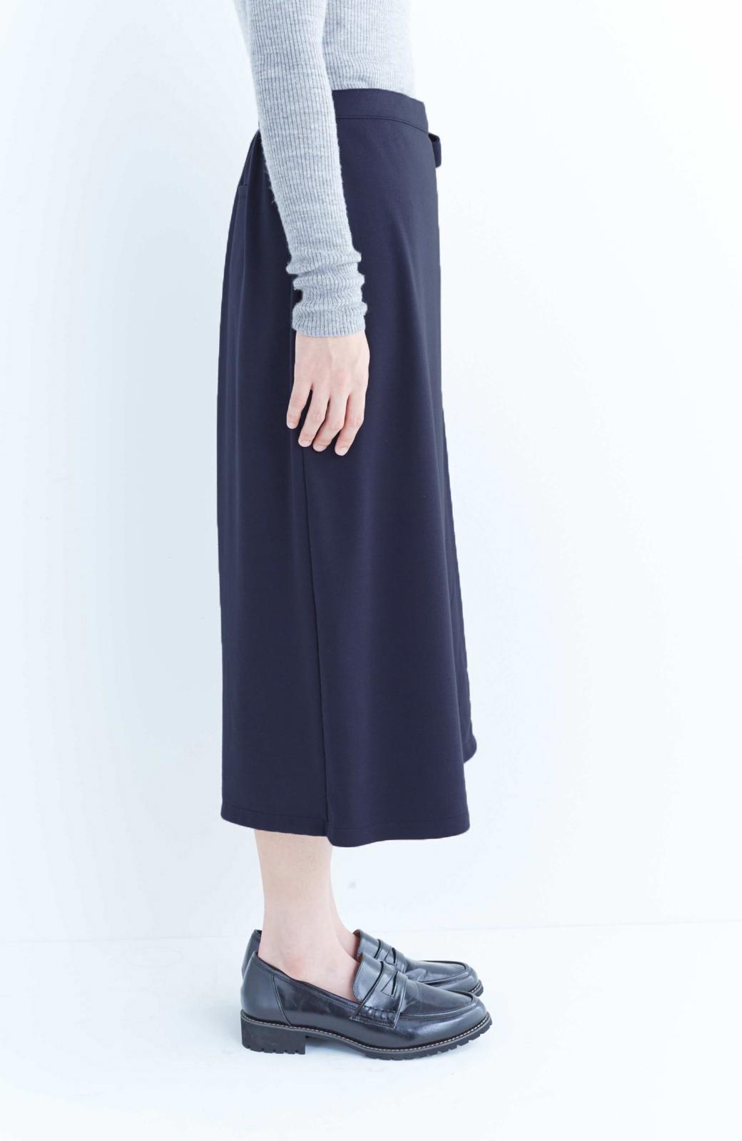 haco! スカート派さんもお気に入り ウエストリボンのスカートパンツ <ダークネイビー>の商品写真3
