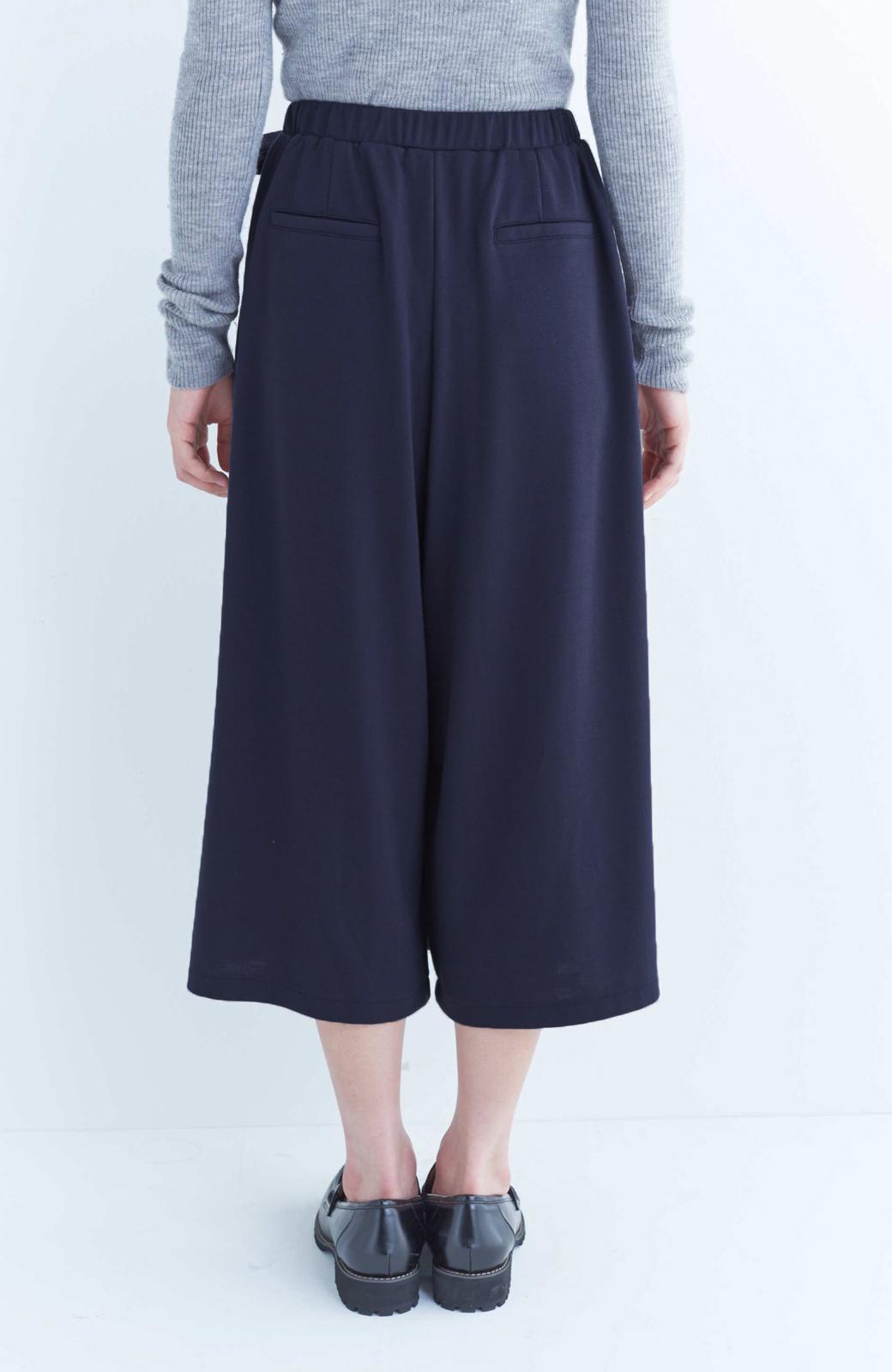 haco! スカート派さんもお気に入り ウエストリボンのスカートパンツ <ダークネイビー>の商品写真4