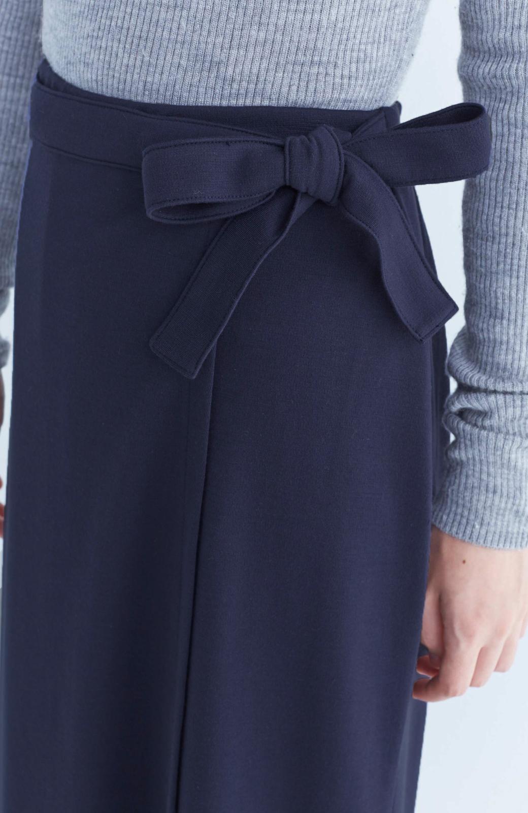haco! スカート派さんもお気に入り ウエストリボンのスカートパンツ <ダークネイビー>の商品写真5