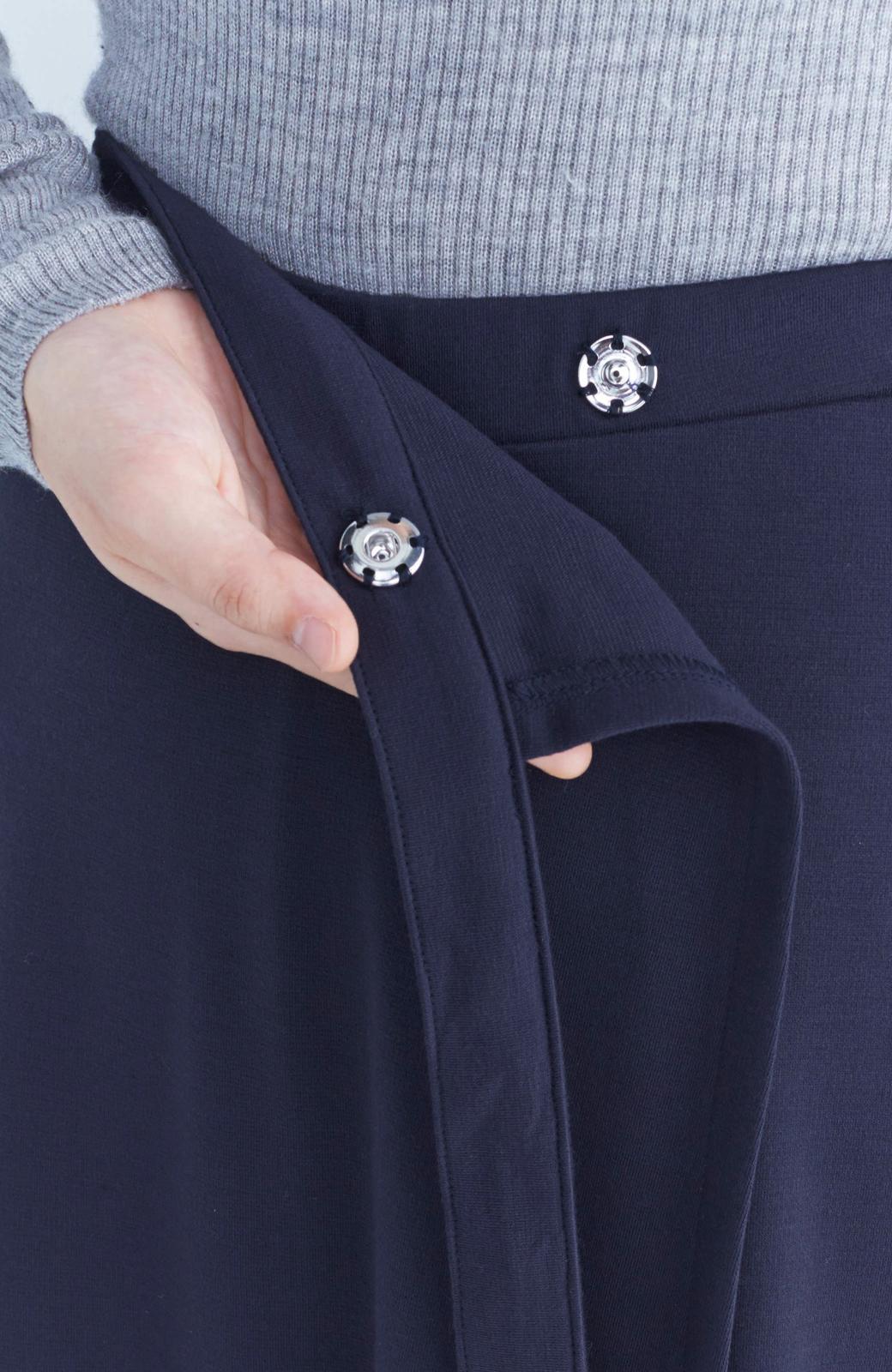 haco! スカート派さんもお気に入り ウエストリボンのスカートパンツ <ダークネイビー>の商品写真6