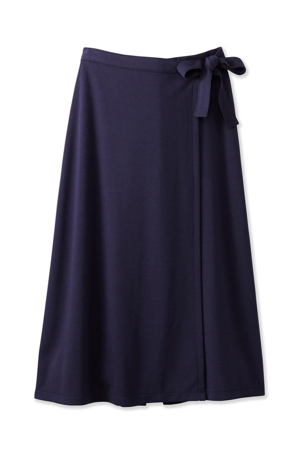 haco! スカート派さんもお気に入り ウエストリボンのスカートパンツ <ダークネイビー>の商品写真1