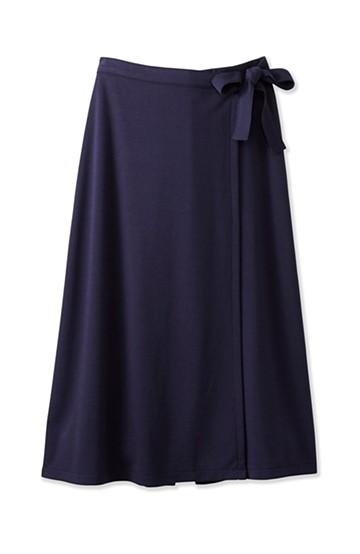 haco! スカート派さんもお気に入り ウエストリボンのスカートパンツ <ダークネイビー>の商品写真