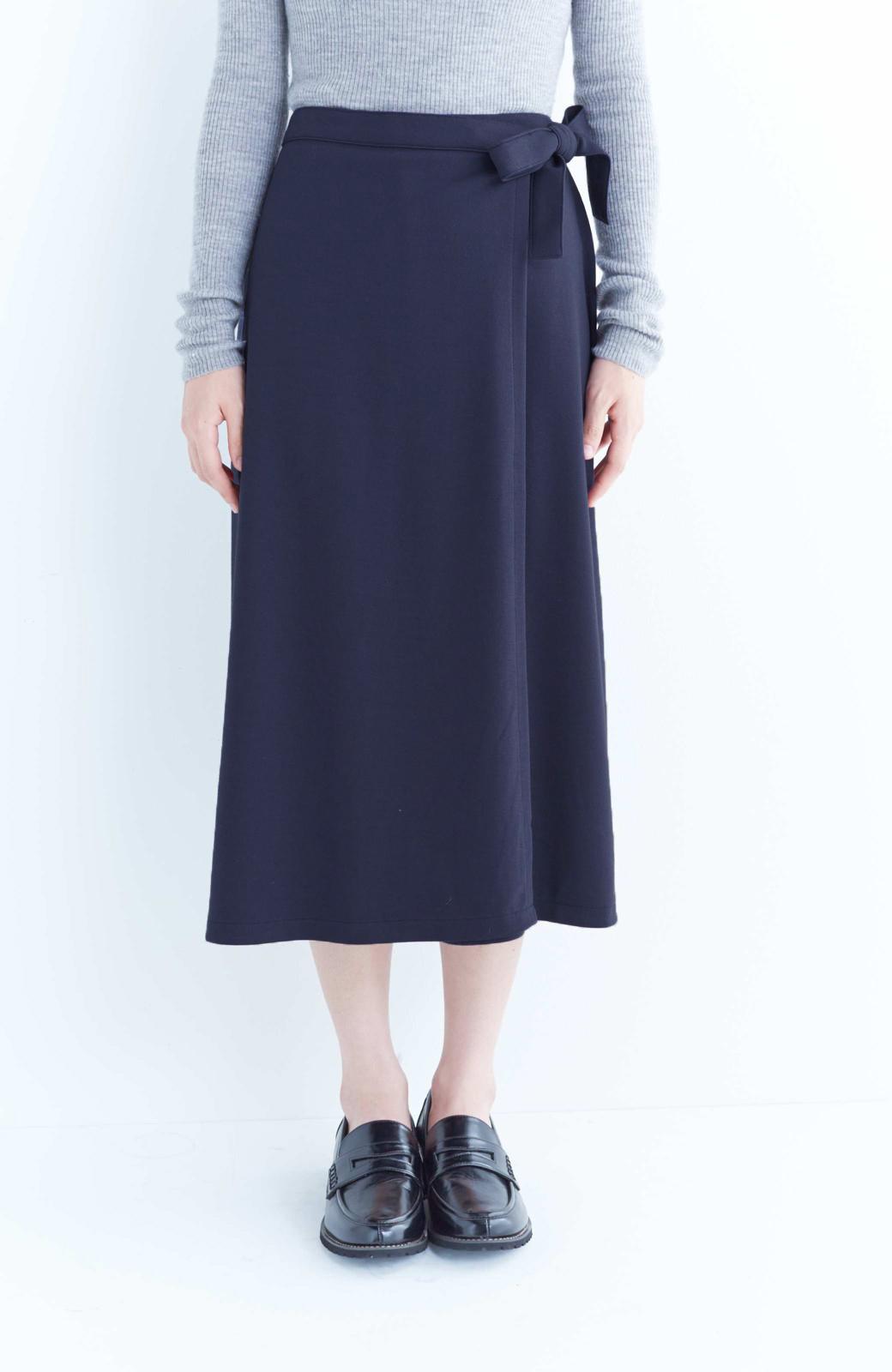 haco! スカート派さんもお気に入り ウエストリボンのスカートパンツ <ダークネイビー>の商品写真2